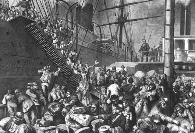 Picture 1:  German Immigrants Boarding Ship in Hamburg