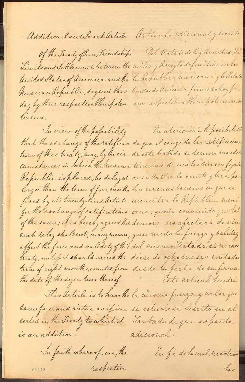 treaty of guadalupe hidalgo essay Under the treaty of guadalupe hidalgo, the mexican-american war ended, and mexico recognized the rio grande river as the southern border of the united states.