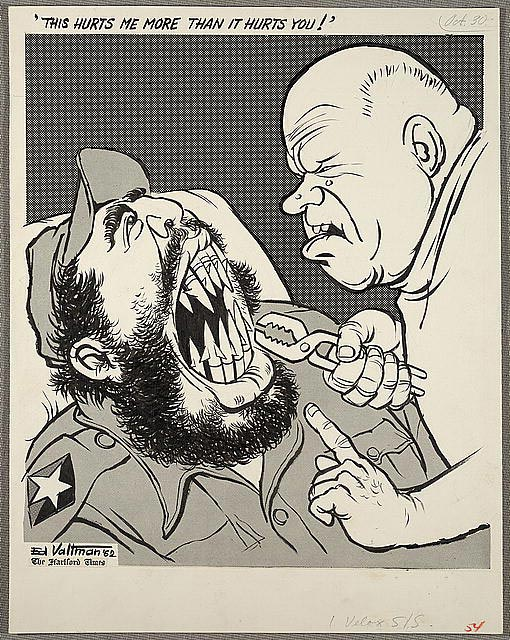 Political cartoon of Khrushchev taking back missiles from Cuba