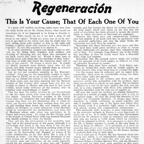 Regeneracion: This Is Your Cause; That of Each of You