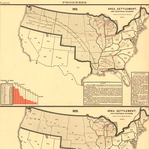 Scribner's Statistical Atlas... (Area, Settlement), 1830 and 1840
