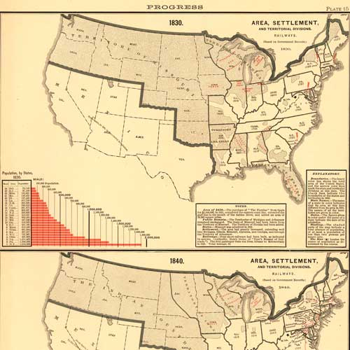 Scribner's Statistical Atlas... (Area, Settlement), 1850 and 1860