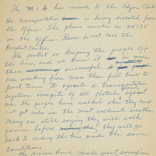 "Notes in which Rosa Parks recounts her arrest after ""the bus incident."" The notes also describe hardships Parks faced during this period in her life including being ""shunned"" by everyone in her workplace."