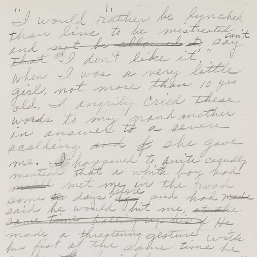 Rosa Parks recounting a childhood encounter with a white boy who threatened to hit her, ca. 1955-1958. Autograph manuscript. Rosa Parks Papers. Manuscript Division, Library of Congress.