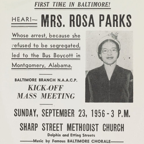 NAACP Baltimore Branch flyer advertising a lecture by Rosa Parks at the Sharp Street Methodist Church, September 23, 1956.