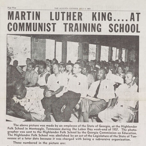 "Photo showing Rosa Parks and Martin Luther King at Civil Rights related ""training"" at Highlander School in Tennessee. First published by GA Commission on Education; here in Atlanta Courier."