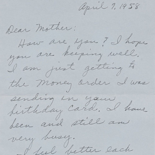 Rosa Parks to Leona McCauley (Mother) concerning the execution of Jeremiah Reeves, a black Alabama teenager falsely convicted of raping a white woman, April 7, 1958. Autograph letter. Rosa Parks Papers. Manuscript Division, Library of Congress.