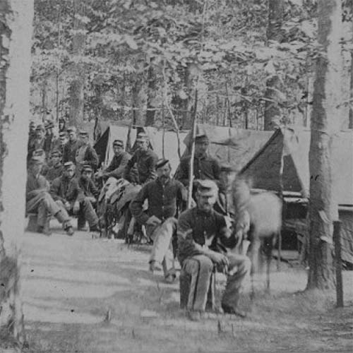 1st Massachusetts Cavalry camp in the woods, ca 1861-1865
