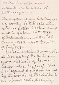 Abraham Lincoln And Emancipation  Articles And Essays  Abraham  Eliza Quincy Described To Mary Lincoln Her Feelings Upon Hearing That President  Lincoln Had Issued The Emancipation Proclamation Diy Creative Projects also Essays On High School Essays About Health