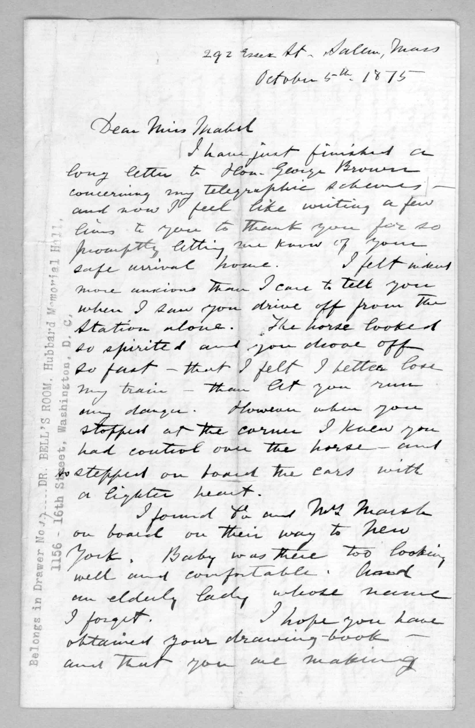 Letter, Alexander Graham Bell to Mabel Hubbard Bell, October 5, 1875