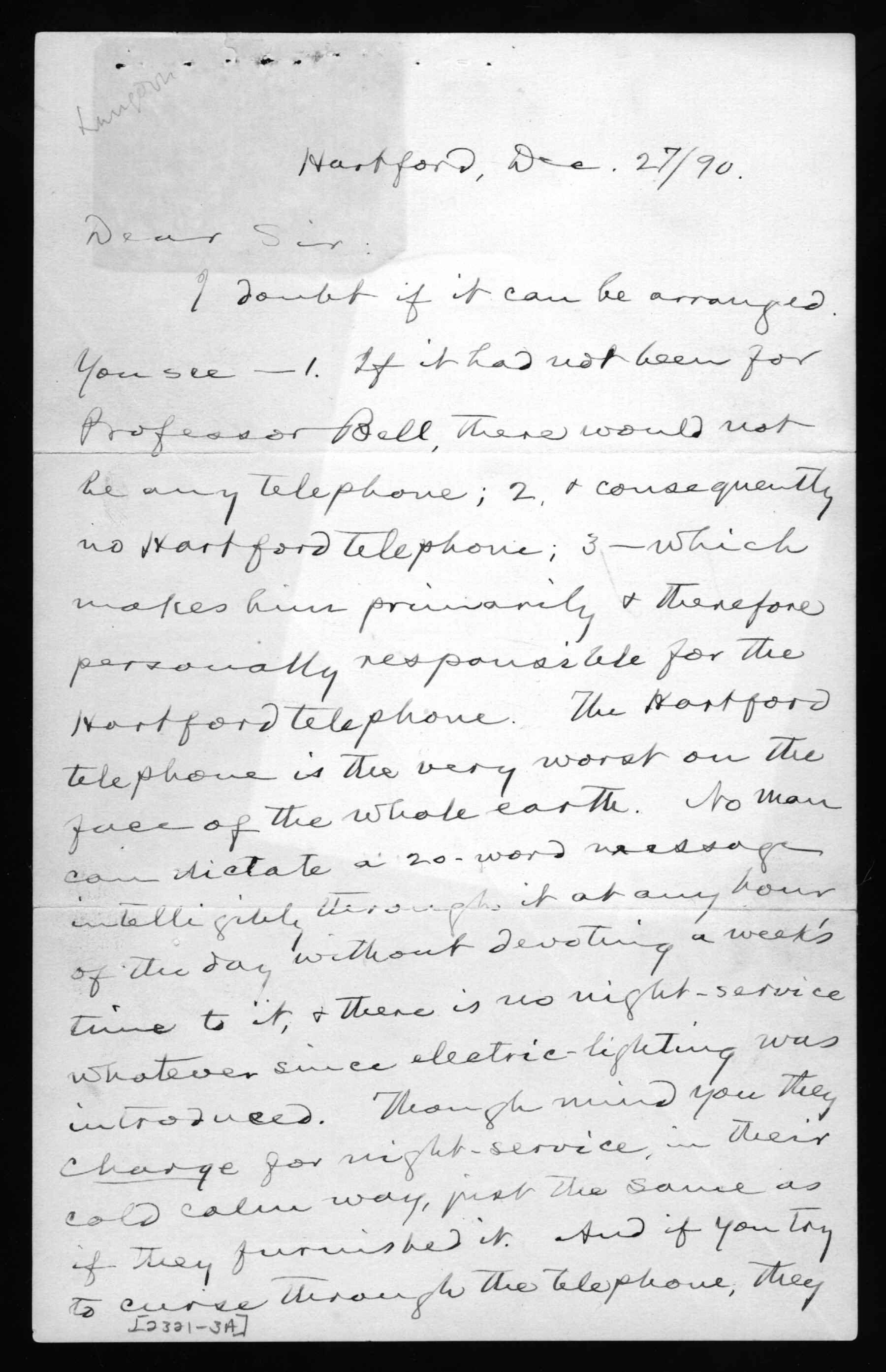 Letter, Mark Twain to Gardiner Greene Hubbard, 1890