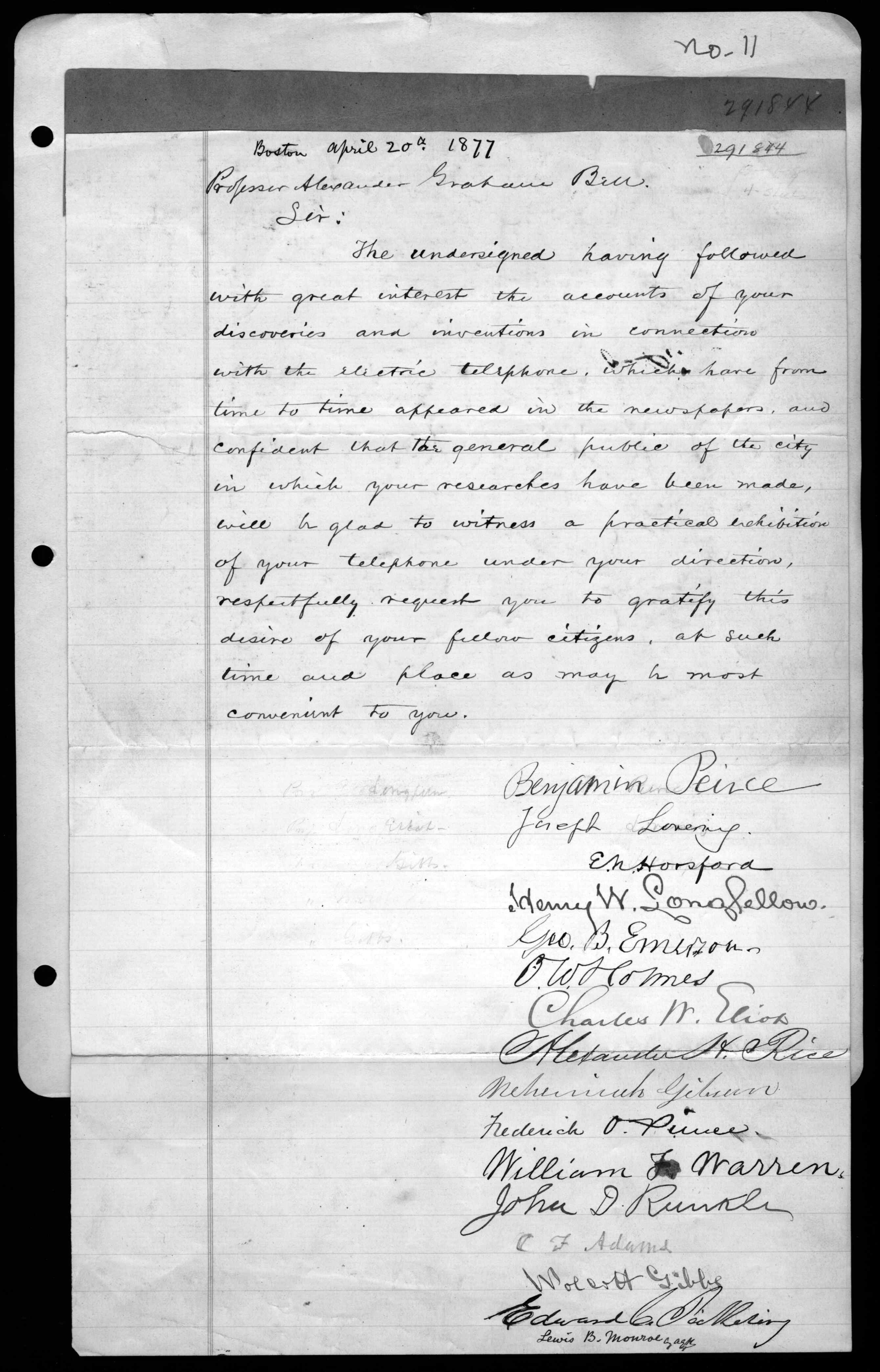 Petition from Bostonians to Alexander Graham Bell, 1877