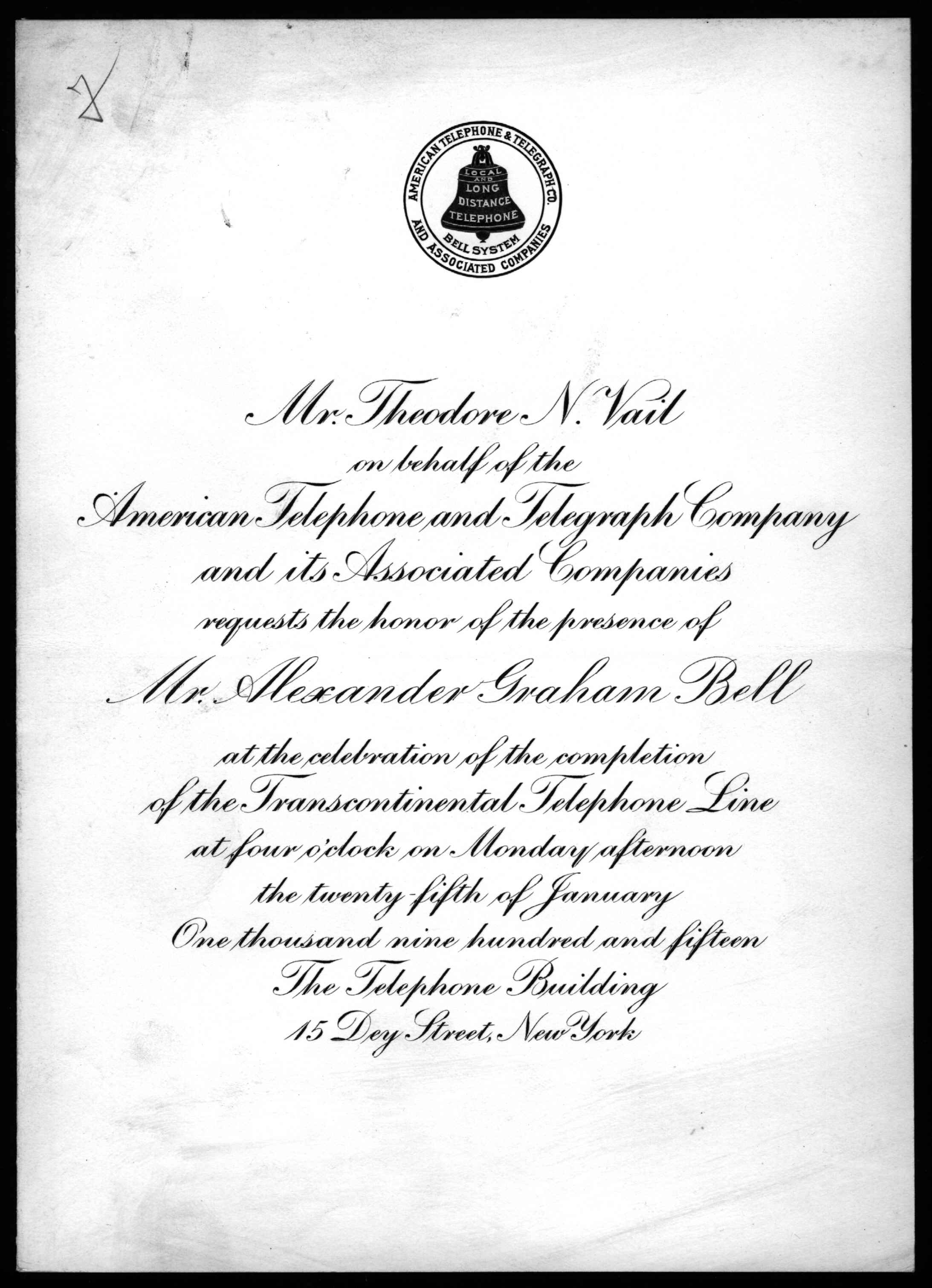 Invitation, Theodore Vail and AT&T to Alexander Graham Bell, 1915