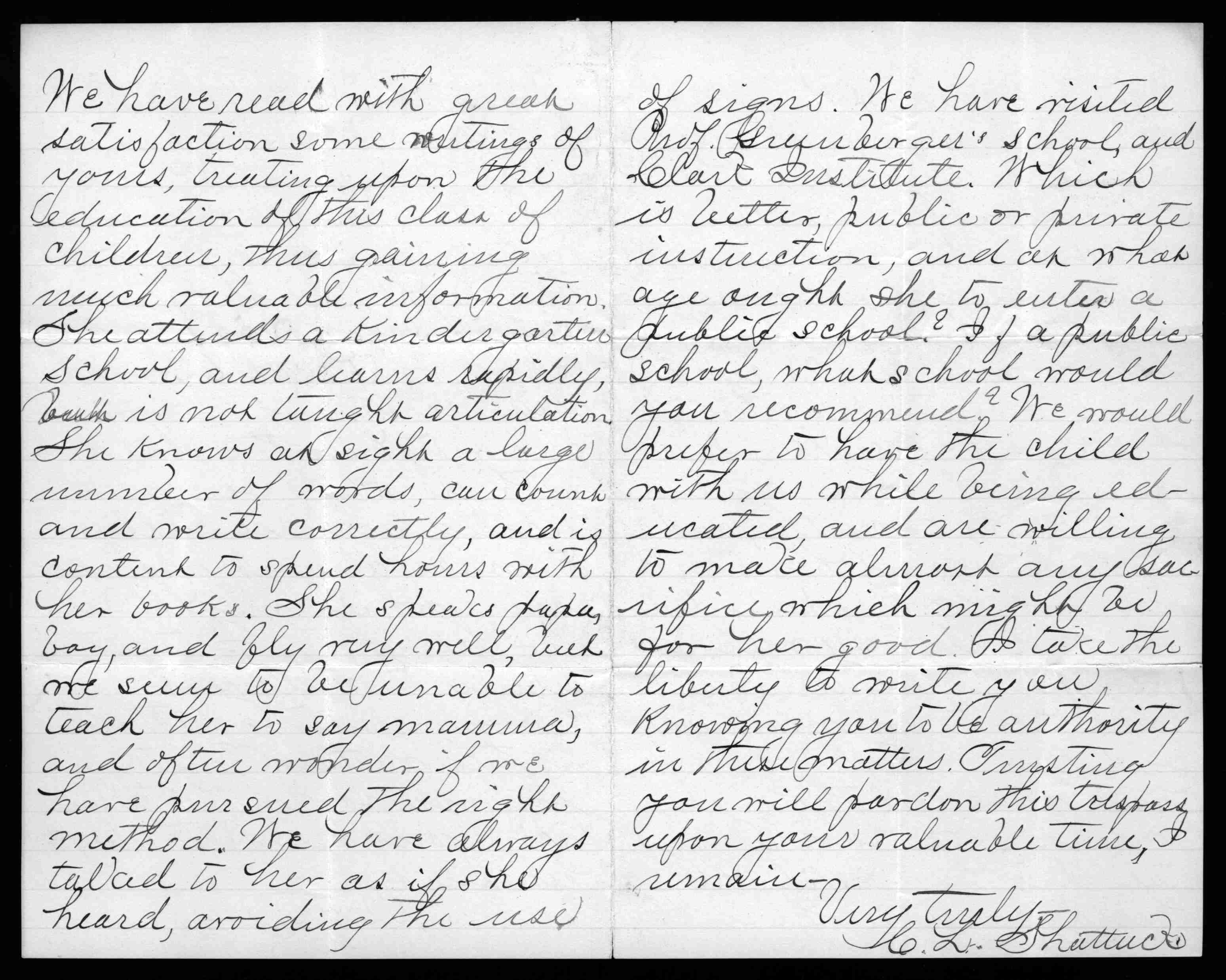 Letter, Mr. and Mrs. C. L. Shattuck to Alexander Graham Bell, 1886
