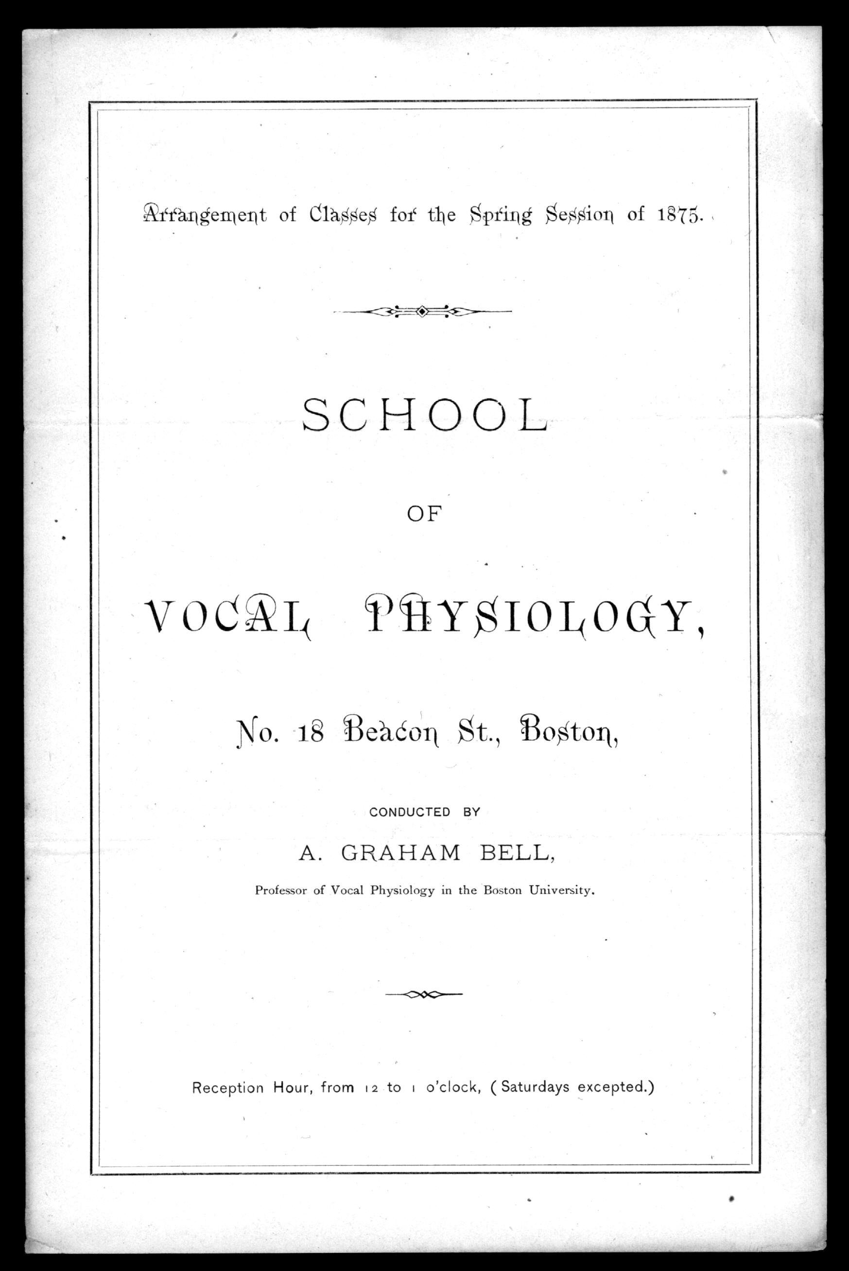 Brochure, Alexander Graham Bell's School of Vocal Physiology, 1875