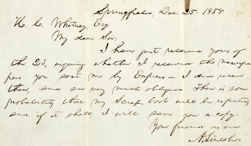 page 1 of letter to henry clay whitney esq from abraham lincoln