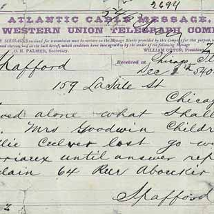Telegram from Anna Spafford to Horatio Gates Spafford, December 2, 1873.