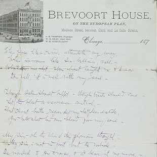 Lyrics to the hymn 'It is Well With my Soul' by Horatio Gates Spafford written on Brevoort House stationery, ca. 1878.