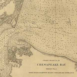 Chesapeake Bay, Sheet no. 1, York River, Hampton Roads, Chesapeake entrance.