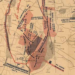 Gettysburg and vicinity, showing the lines of battle, July, 1863, and the land purchased and dedicated to the public by General S. Wylie Crawford and the Gettysburg Battlefield Memorial Association