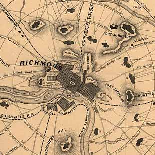 A complete map of Richmond and its fortifications within a circle of 12 miles