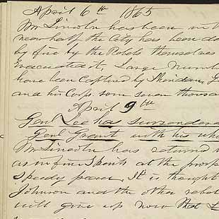 Entries for April 6, 9 and 14, 1865, including Lee's surrender and first report of Lincoln's assassination