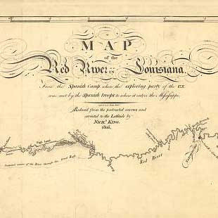 Map of the Red River in Louisiana from the Spanish camp where the exploring party of the U.S. was met by the Spanish troops to where it enters the Mississippi, reduced from the protracted courses and corrected to the latitude