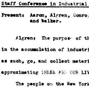 Bessie Jaffey's notes of Nelson Algren's staff meeting on documentary realism, July 13, 1939