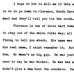 Ralph Ellison hears about an invisible man in Florence, South Carolina, from Leo Gurley, June 14, 1939