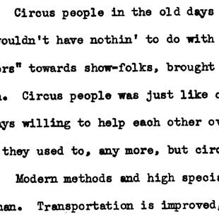 "W. E. ""Doc"" Van Alstine's Oregon circus memories, including stories about the Ringling Brothers, January 13, 1939"