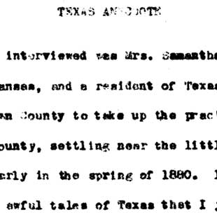 Texas pioneer woman Mrs. Samantha Jane Turney from Arkansas recalls Indian encounters, n.d.