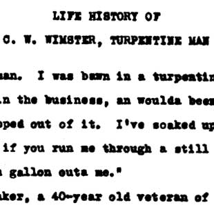 """Life History of C. W. Wimster, Turpentine Man,"" Tampa, Florida, August 22, 1939"