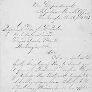 C.W. Foster, U.S. War Department, to Frederick Douglass directing Douglass to recruit colored troops, 13 August 1863. Autograph letter.