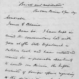 Frederick Douglass to James G. Blaine concerning a U.S. naval base at Mole St. Nicholas, Haiti, 6 January 1891. Autograph letter.