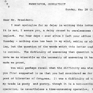 Letter from Archibald MacLeish to Franklin D. Roosevelt, May 28, 1939