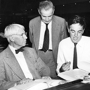 Photograph of Carl Sandburg, J.G. Randall and Alan Lomax, August 29, 1947