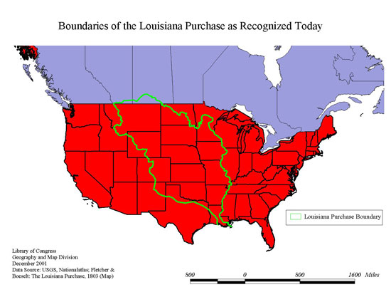 boundaries of the louisiana purchase as recognized today