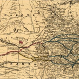 Map of the central portion of the United States showing the lines of the proposed Pacific railroads.