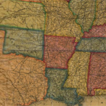 Williams' commercial map of the United States and Canada with railroads, routes, and distances