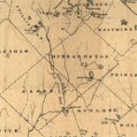 Map of rail road surveys from Worcester to Baldwinville & N.H. line.