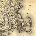 Map showing the line of the New Haven, Middletown, and Boston Railroad and its connections.
