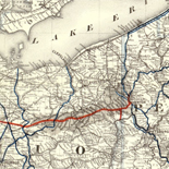 A correct map of a section of the United States showing the allignment [sic] of the Pittsburgh, Marion, and Chicago Railway between Chewton, Penna. and Marion, Ohio and connections.