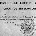 Ticket for Admittance to Champ de Tir d'Auvours, 1908