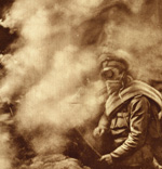 A soldier wearing a gas mask, enveloped by a cloud of gas