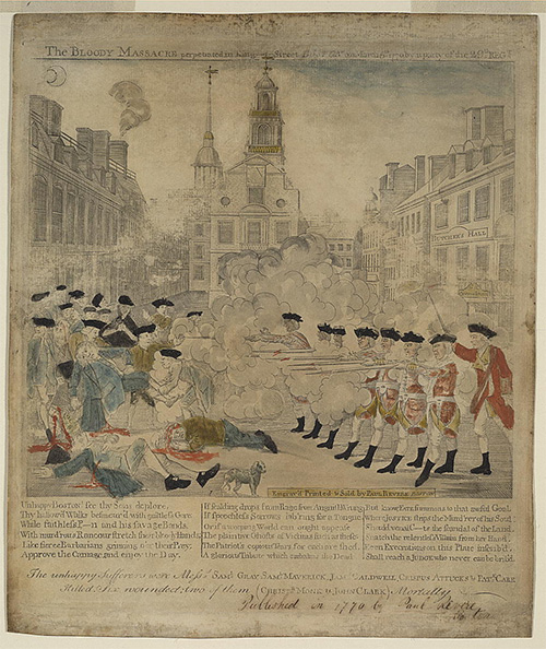 The Bloody Massacre Perpetrated in King Street Boston on March 5th 1770 by  a Party of the 29th Regt. Boston: Engrav'd Printed & Sold by Paul Revere,  1770.