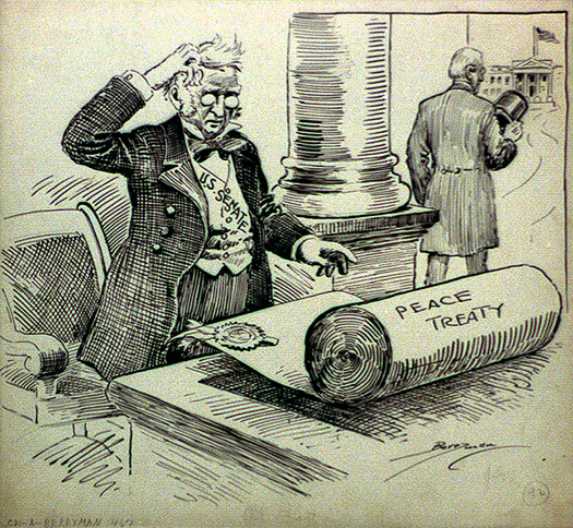 political cartoon of a man looking at a large scroll of paper labeled peace treaty