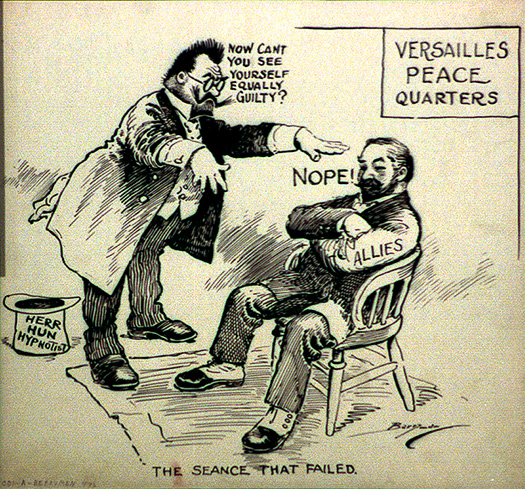 political cartoon showing two men, one gesturing towards the other