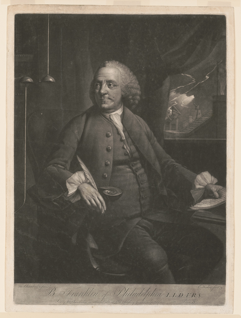 This print shows Benjamin Franklin seated at a desk, looking to his right at an electrical device. In his left hand are papers upon which he is taking notes, and visible through a window to his left is lightning striking a building. (Edward Fisher, engraver, after a painting by Mason Chamberlin, 1763. Prints and Photographs Division, Library of Congress)