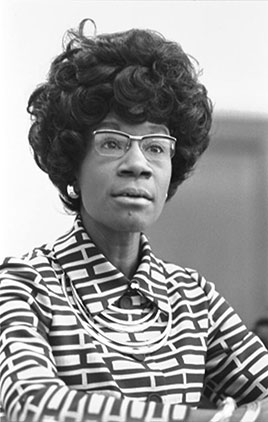 Congresswoman Shirley Chisholm announcing her candidacy for presidential nomination