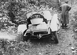 Automobile stuck in ditch on road in New York...1909